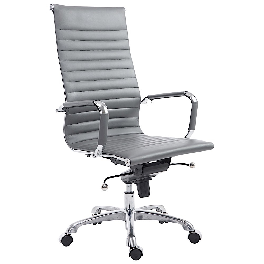 Lucy High Back Ribbed Office Chair Grey Premium Home Interior