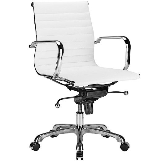 Lucy Mid Back Ribbed Office Chair White