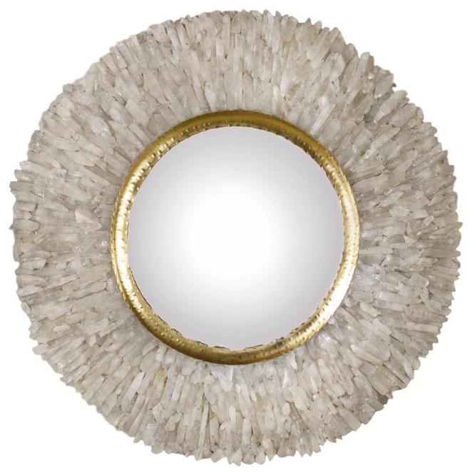round crystal mirror gold premium home interior
