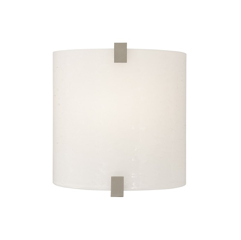 Essex Wall Sconce Surf White Glass   Satin Nickel