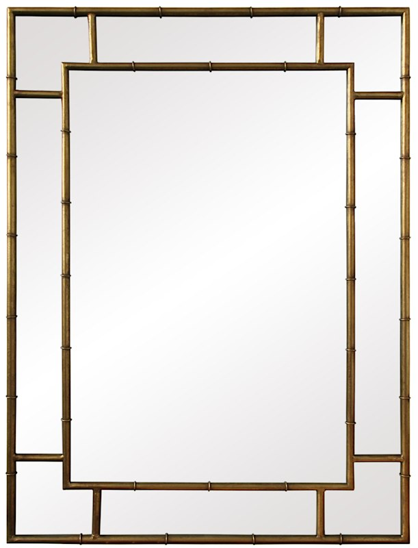 Iron Bamboo Mirror Gold | Premium Home Interior