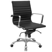 Lucy Mid Back Ribbed Office Chair Black