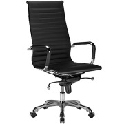Lucy High Back Ribbed Office Chair Black